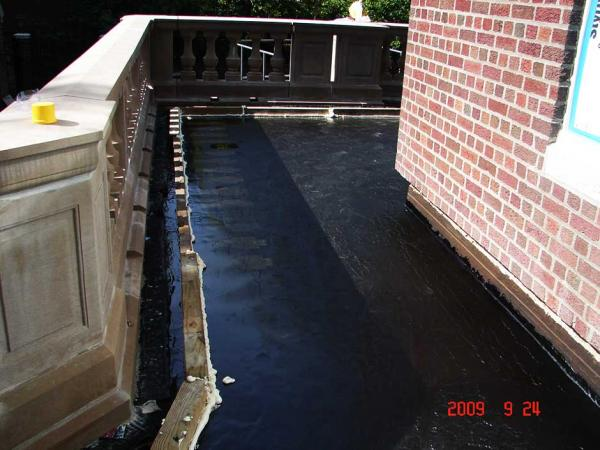 Plaza Deck Waterproofing Membrane Flood Test