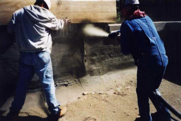 Crew Spraying Dry Process Gunite