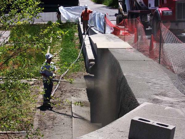 Dry Process Gunite on Concrete Wall