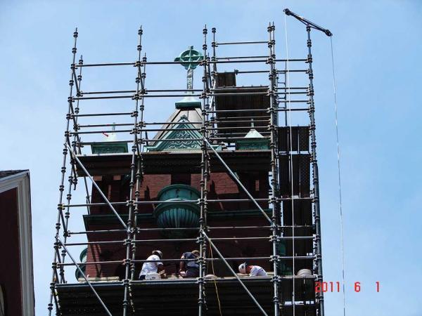 Crew Working on Masonry Restoration