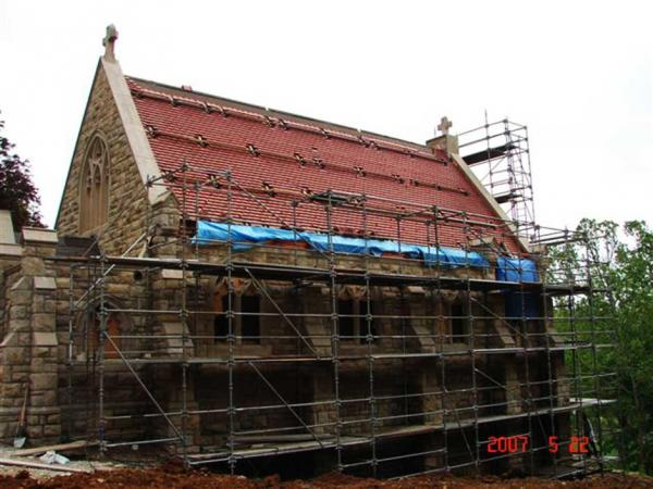 Stone Restoration on the side of a Church